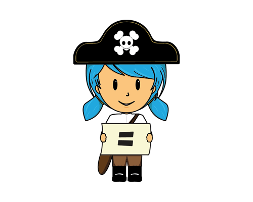 cartoon of a young girl in a pirate outfit