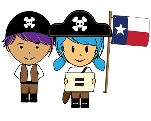 two young kids in a pirate outfits beside the Texas state flag